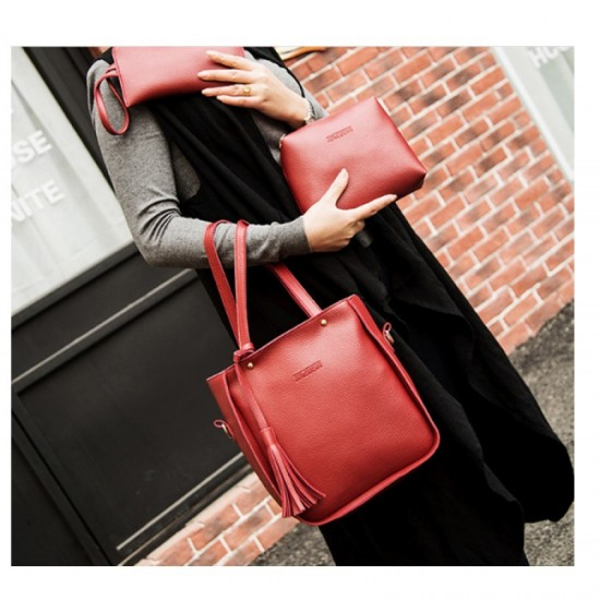 Women Fashion Elegant Three Piece Shoulder Handbag-Red image