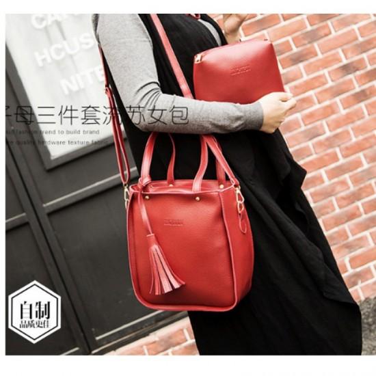 Women Fashion Elegant Three Piece Shoulder Handbag-Red image