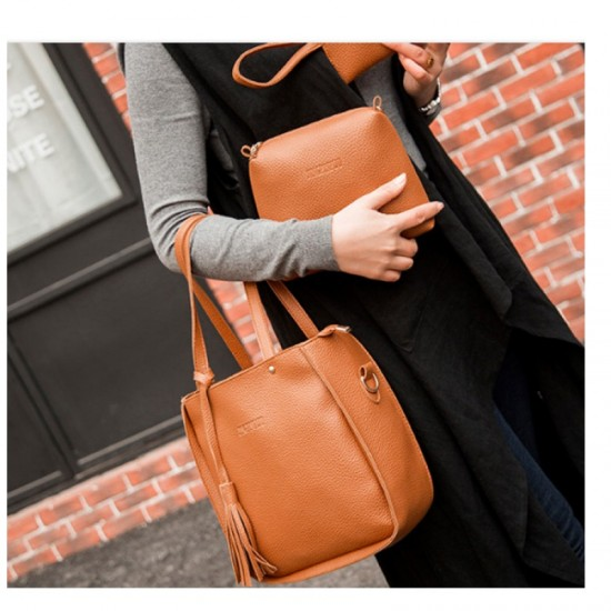 Women Fashion Elegant Three Piece Shoulder Handbag-Brown image