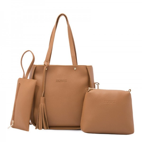 Women Fashion Elegant Three Piece Brown Color Shoulder Handbag image