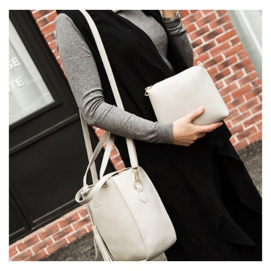 Women Fashion Elegant Three Piece Shoulder Handbag-Grey image