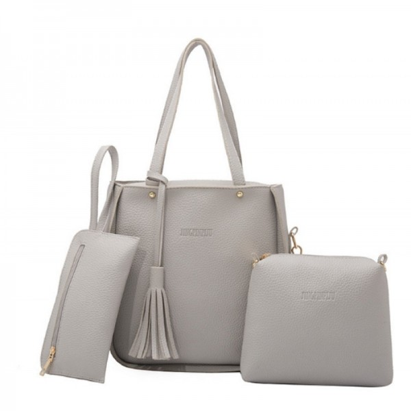Women Fashion Elegant Three Piece Grey Color Shoulder Handbag image