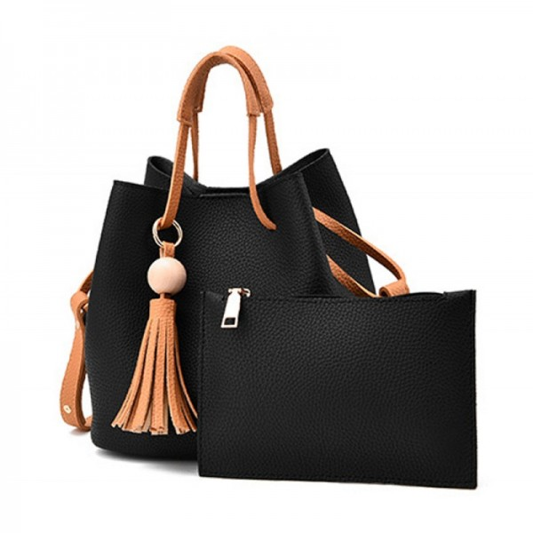 Women Fashion Wild Shoulder Messenger Black Color Handbag image
