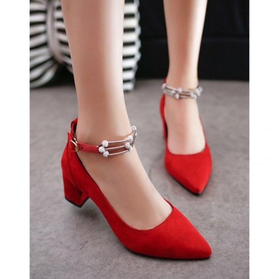 Diamond Studded Metal Pointed Heels For Women-Red image