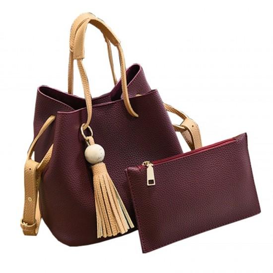 Women Fashion Wild Shoulder Messenger Handbag-Maroon image