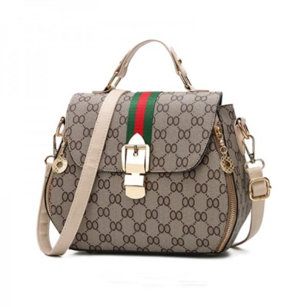 Cream Strapped Women Fashion Shoulder Diagonal Handbag image