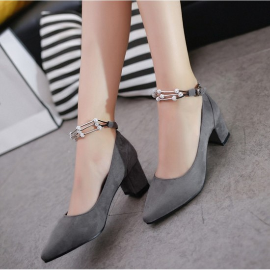 Diamond Studded Metal Pointed Heels For Women-Grey image