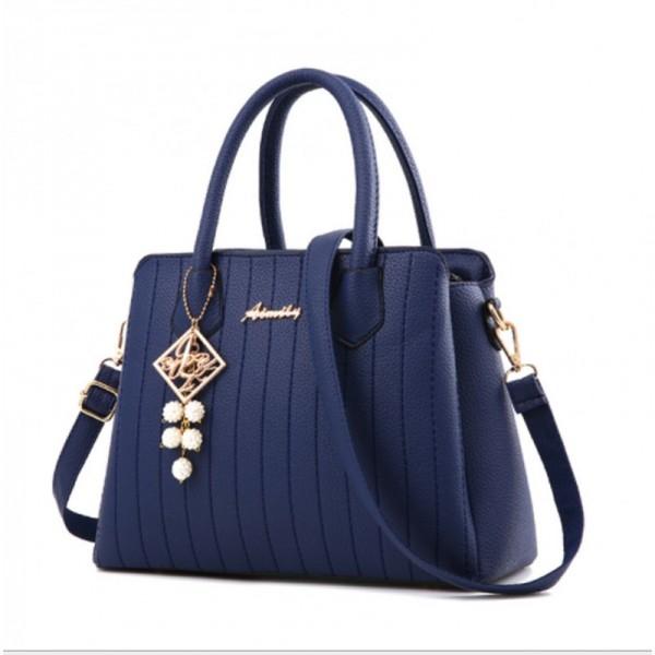 Blue Colored Latest Trending Simple Big Capacity Handbag image