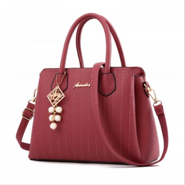 Red Colored Latest Trending Simple Big Capacity Handbag image