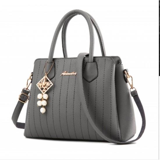 Grey Colored Latest Trending Simple Big Capacity Handbag image