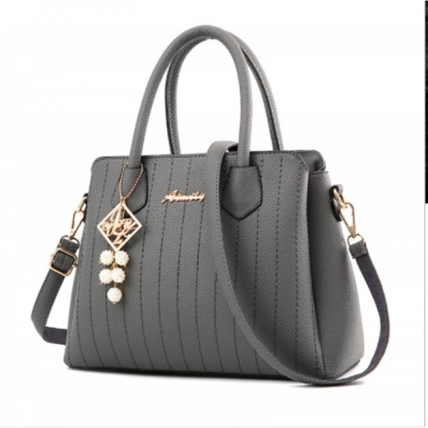 Grey Colored Latest Trending Simple Big Capacity Handbag image