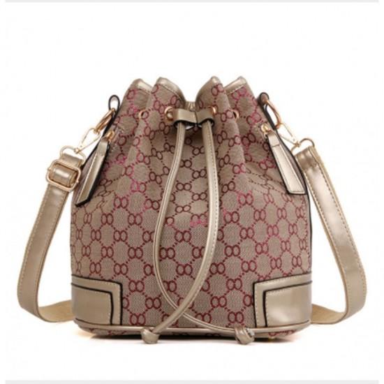 Red Geometric Pattern Women Fashion Canvas Shoulder Bucket Handbag image