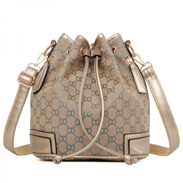 Silver Geometric Pattern Women Fashion Canvas Shoulder Bucket Handbag image