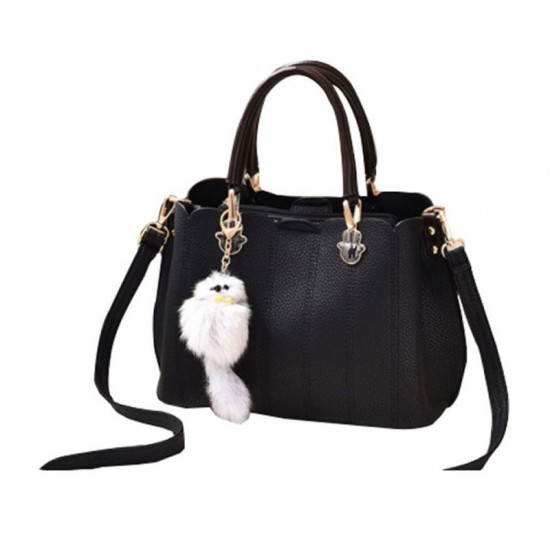 Pure Leather Women Exclusive Design Messenger Handbag-Black image