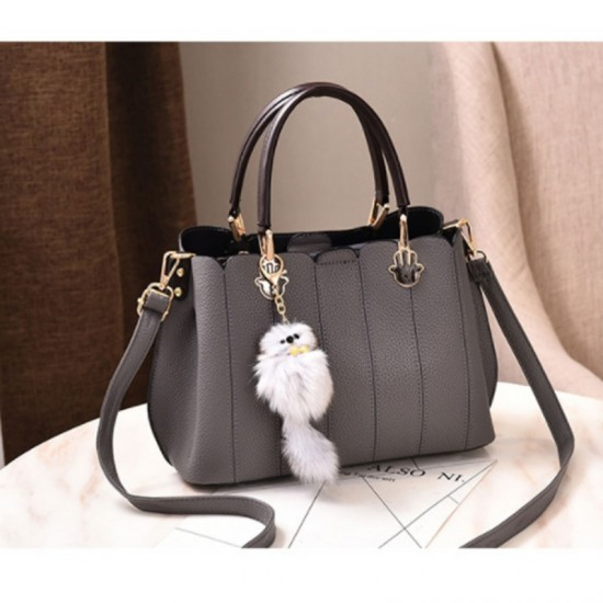 Pure Leather Women Exclusive Design Messenger Handbag-Grey image