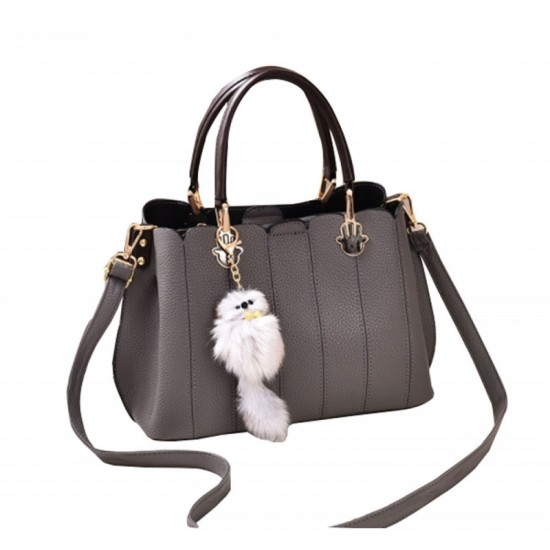 Pure Leather Women Exclusive Design Messenger Handbag-Grey image