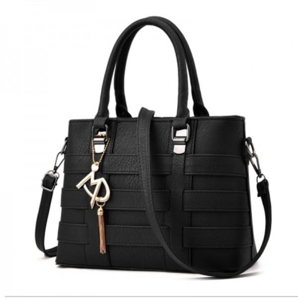Black Color Women Fashion Shoulder Diagonal Stylish Handbag image