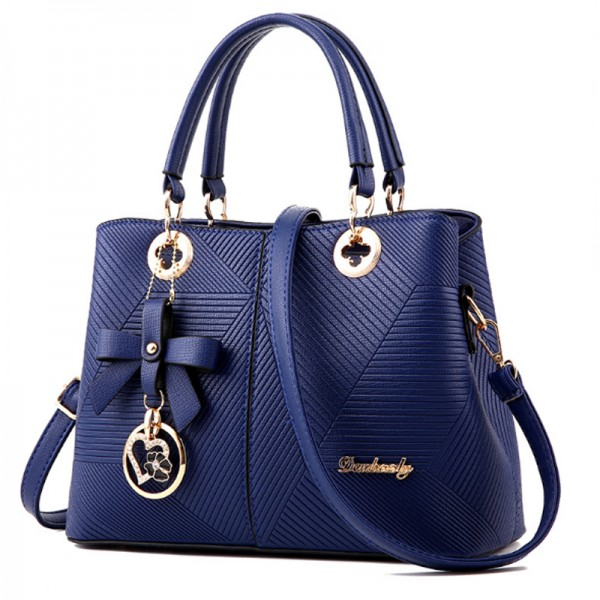 Trendy Fashion Shoulder Messenger Women Blue Handbag image