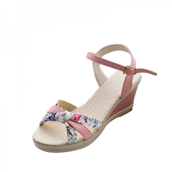 PInk Colored Summer Thick-soled high-heeled Sweet Printed Buckle Sandals image