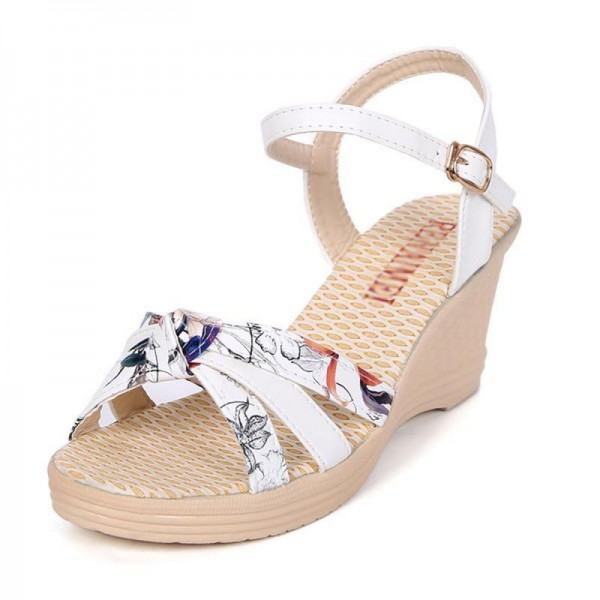 White Colored Summer Thick-soled high-heeled Sweet Printed Buckle Sandals image