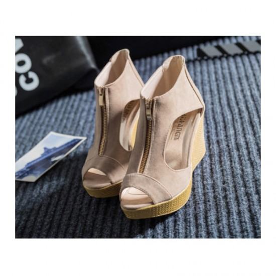 Suede Leather High Wedge Zipper Sandals For Women-Beige image
