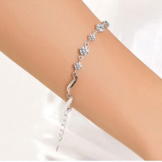 Heart Love Korean Fashion Platinum Plated Crystal Bracelet For Women-Silver image