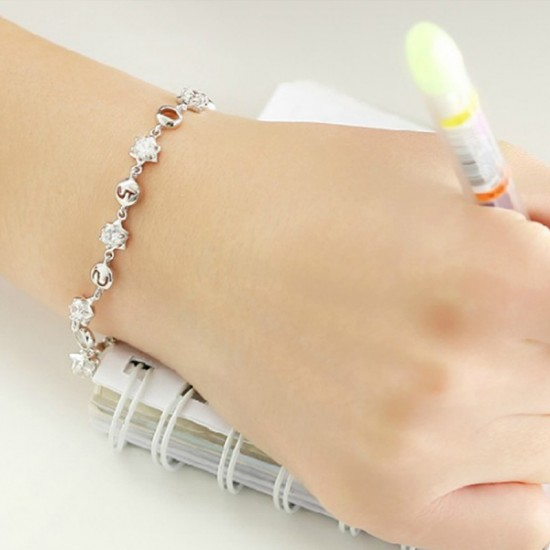 Korean Fashion Silver Color Crystal Bracelet Women image
