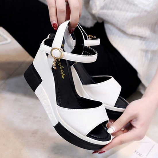 Women High Heel Water Proof Platform Wedge Sandals-White image
