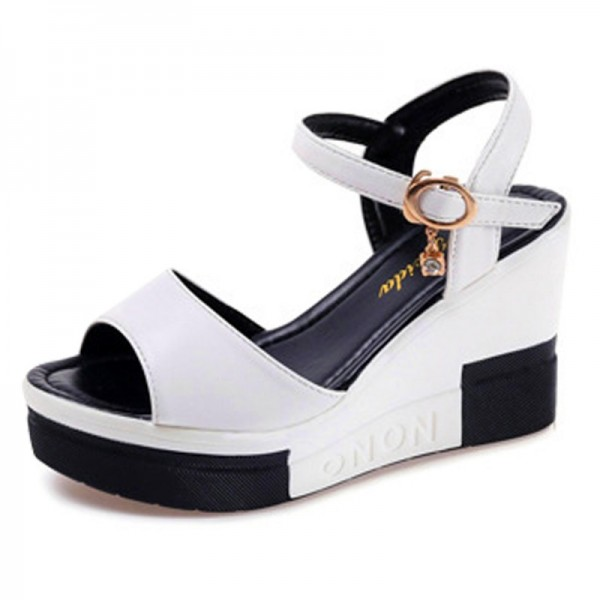 Women Summer Slope Fish Mouth White High Wedge Sandals image