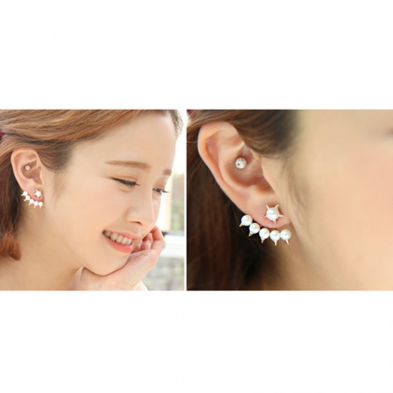 Woman Fashion SILVER Color Five Pointed Star Hanging Pearl Earrings image