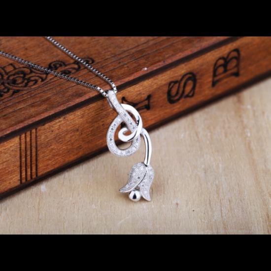 Woman Fashion Hanging Rose Design Pendant-Silver image