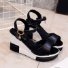 Women Summer Slope Fish Mouth Black High Wedge Sandals image