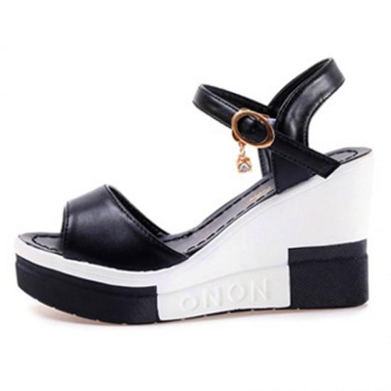 Women High Heel Water Proof Platform Wedge Sandals-Black image