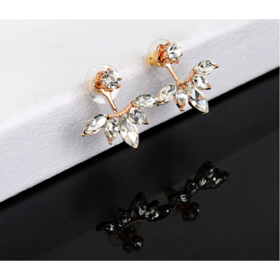 Woman Crystal Rhinestone Ear Stud Earrings-Gold image