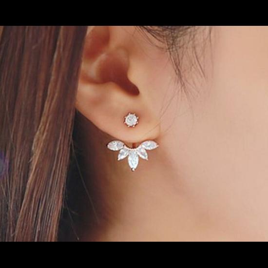 Woman Crystal Rhinestone Ear Stud Earrings-Gold image