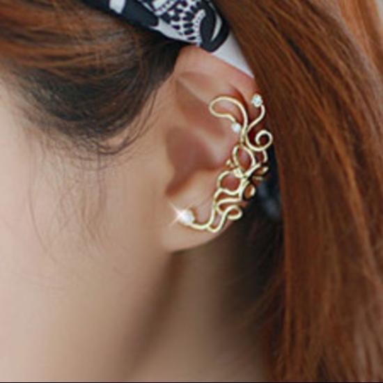 Women Butterfly U Shaped Ear Clip-Gold image