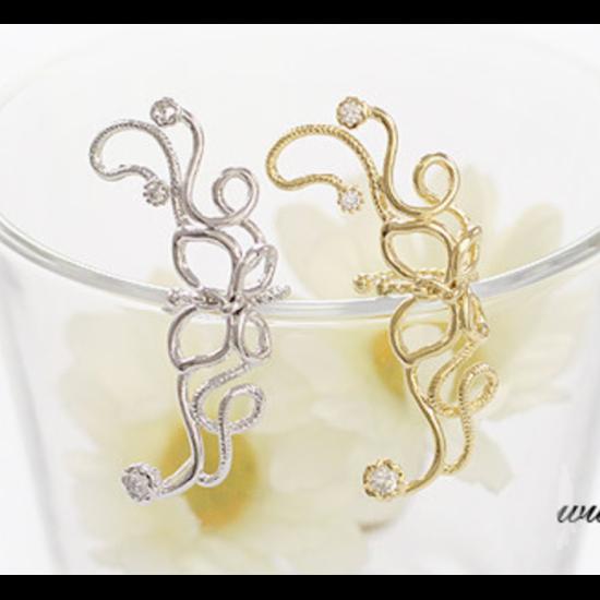 Women Butterfly U Shaped Ear Clip-Silver image