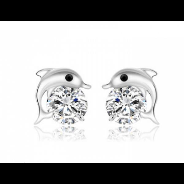 Woman Fashion Zircon Dolphin Silver Earrings image