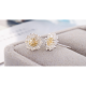 Woman Fashion Golden Sun Flower Earrings-Silver image