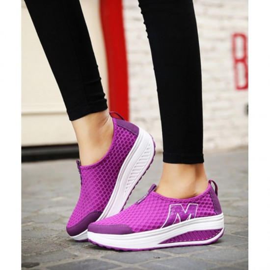 Sports High Bottom Breathable Mesh Sports Joggers For Women-Purple image