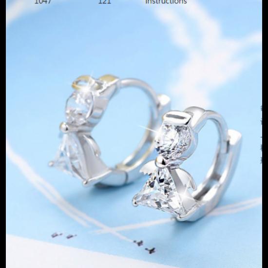 Woman Fashion Elegant Small Earrings Crystal Silver Earrings image