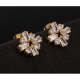 Women Fashion Lady Burst Square Flower Earrings-Gold image