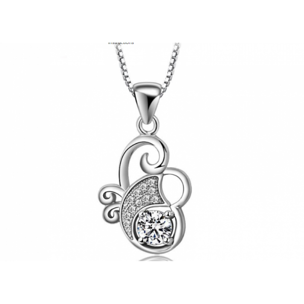 Flower Style Women Fashion Multi Diamonds Silver Pendant image