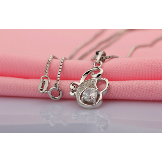 Flower Style Women Fashion Multi Diamonds Pendant-Silver image