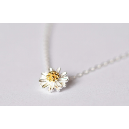 Small Daisy Flower Women Fashion Clavicle Necklace-Silver image