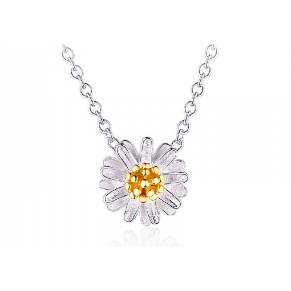 Small Daisy Flower Women Fashion Clavicle Silver Necklace image