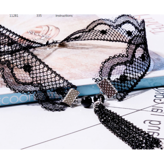 Choker Jewelry Lace and Cross Black Colored Necklace image