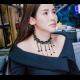 Little Beads Tassel Retro Lock Bone Necklace-Black image