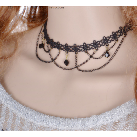Lace Paragraph Style Women Fashion Tessel Necklace-Black image