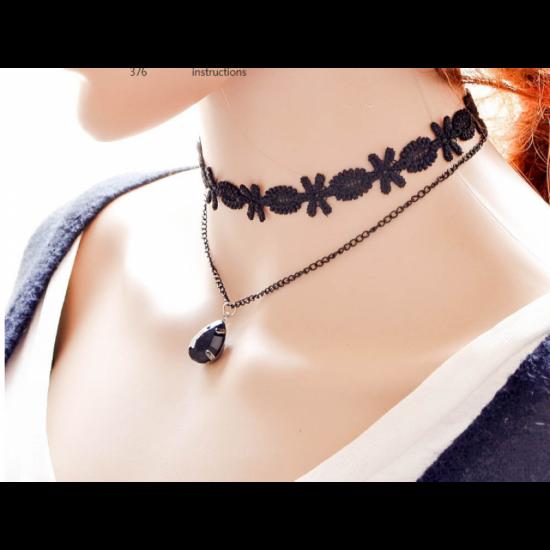 New Fashion Women Lace Necklace With Gemstone Pendant-Black image